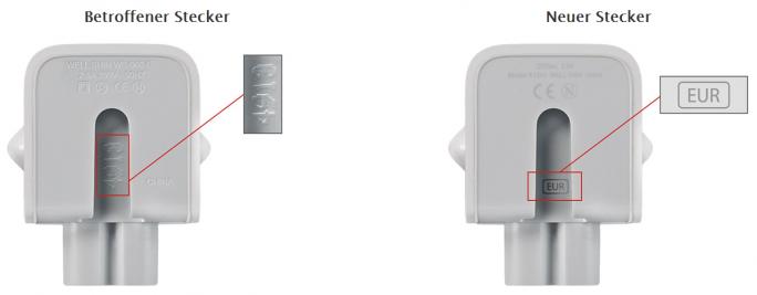 Die fehlerhaften Stecker lassen sich anhand der Kennzeichnung an der Innenseite der Verbindungsstelle zum Netzteil identifizieren (Bild: Apple).