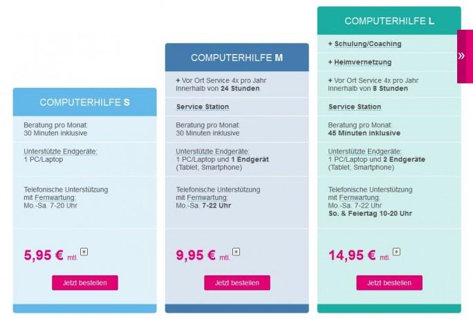 Leistungsübersicht über die drei Pakete der Computerhilfe für Privatkunden respektive den IT-Sofort-Service der Deutschen Telekom (Grafik: DTAG)