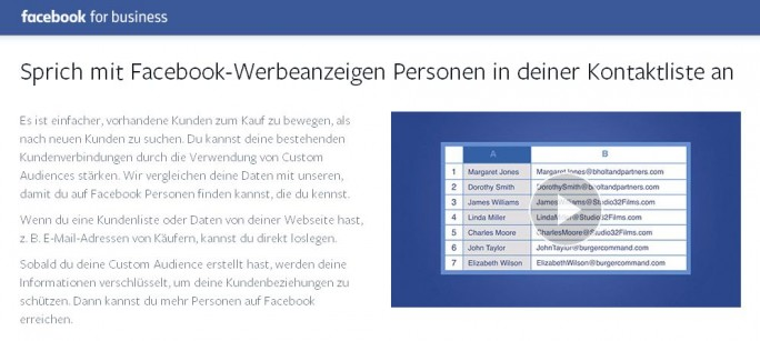 "Nach dem Urteil des Bundesgerichtshof riskieren Firmen für die Nutzung der Facebook-Funktion ""Custom Audience"" nun hohe Bussgelder (Screenshot: ITespreso)"