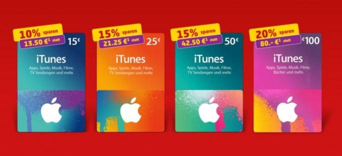Bei Penny gibt es diese Woche iTunes-Guthabenkarten mit Werten von  15, 25, 50 und 100 Euro zwischen 10 udn 20 prozent günstiger (Screenshot: ITespresso).