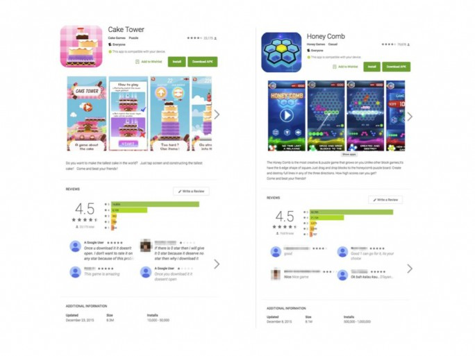 Neben Cake Tower und Honey Comb hat Google nun auch die mit Malware vom Typ Brain Test infizierten Apps Cake Blast, Jump Planet, Crazy Block, Crazy Jelly, Tiny Puzzle, Ninja Hook, Piggy Jump, Just Fire, Eat Bubble, Hit Planet und Drag Box aus dem Play Store entfernt (Screenshot: Lookout).
