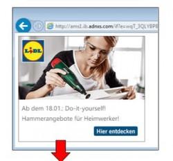 Eine der für die Malvertising-Kampagne verwendeten, gefälschten, Lidl-Anzeigen bei MSN (BIld: Malwarebytes).