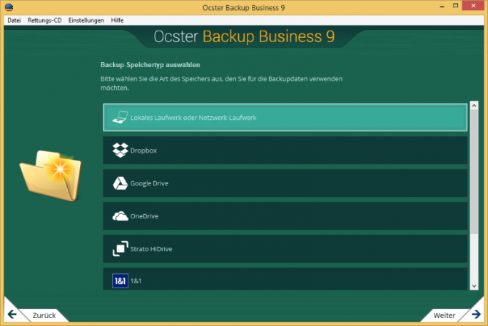 ocster_backup_business9_storagetype_de (Screenshot: Ocster)