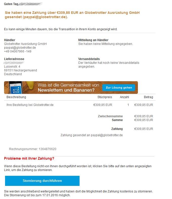 Eine angeblich von PayPal stammende Nachricht soll Nutzer dazu verleiten, ihre Kontodaten preiszugeben. Die angegebene Adresse ist in diesem Fall anders als die Anrede nicht korrekt (Screenshot: sililcon.de).