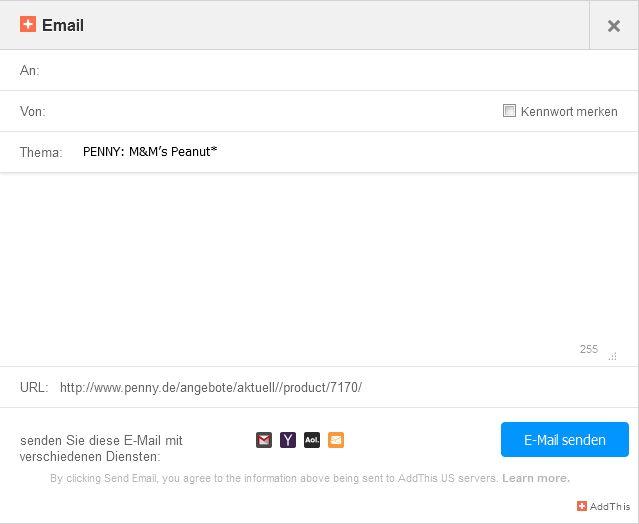 Verwenden Nutzer zum Beispiel die Empfehlungsfunktion bei Penny, erhalten sie solch ein bereits teilweisee vorausgefülltes Forumlar angeboten. Hat der Empfänger dem Erhalt derartiger E-Mails nicht vorab ausdrücklich zugestimmt, sind sie nach Ansicht des OLG Hamm rechtswidrig (Screenshot: ITespresso).