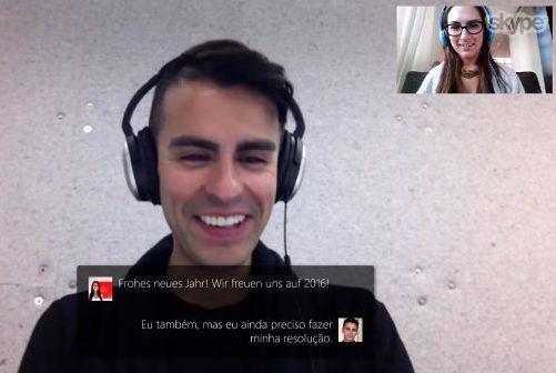 Bei aktiver Translator-Funktion wird in Skype das vom Gegenüber in seiner Sprache Gesagte in der eigenen als Untertitel eingeblendet (Screenshot: Microsoft)