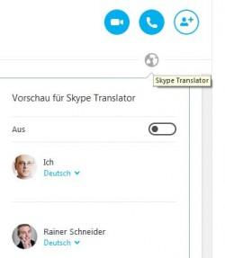 Ob Skype Translator verfügbar ist, erkennt man am Weltkugel-Symbol in der rechten oberen Ecke, welche Übersetzungsfunktion genutzt werden soll, lässt sich nach einem Klick darauf einstellen (Screenshot: ITespresso).