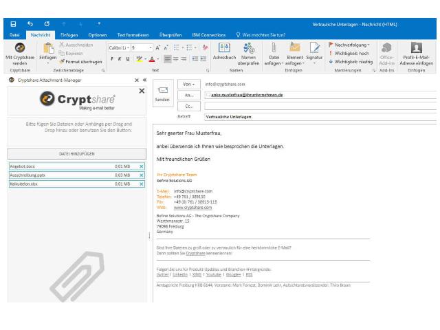 Cryptshare for Outlook integriert sich in Benutzeroberfläche von Microsoft Outlook 2016 (Screenshot: Befine Solutions)