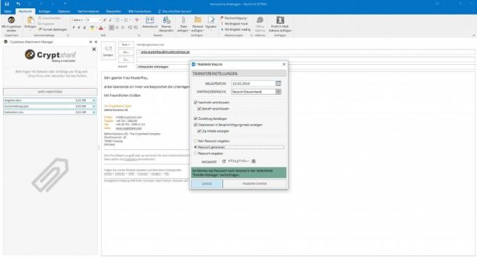Mit Cryptshare for Outlook 2016 eine verschlüsselte der E-Mail versenden (Screenshot: Befine Solutions)
