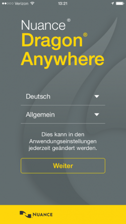 Dragon_Anywhere_deutsch (Screenshot: Nuance)