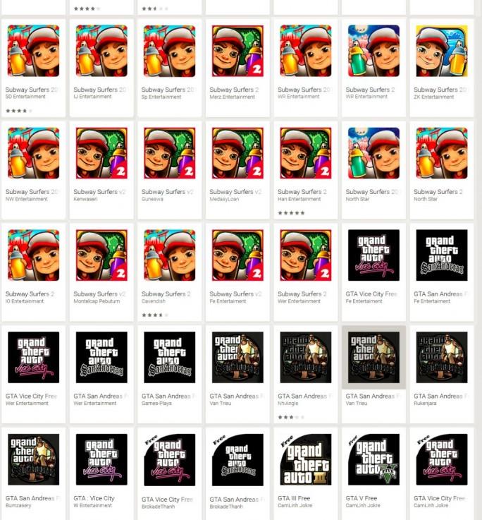 Über 300 Apps, die sich als kostenlose Version beliebter Spiele wie Subway Surfer oder Grand Theft Auto ausgeben, rufen tatsächlich im Hintergrund lediglich Porno-Webseiten auf (Screenshot: Eset)