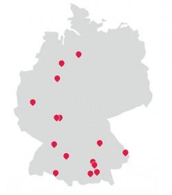 Übersicht über die bisherigen ACP-Standorte in Deutschland (Grafik: ACP Deutschland)