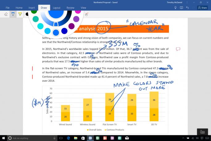 Die digitalen Zeichenwerkzeuge sind jetzt auch auf Windows-Tablets nutzbar (Bild: Microsoft).