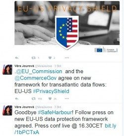 Tweets von EU-Justizkommissarin Véra Jourová zum EU-US-Privacy Shield (Screenshot: ITespresso).