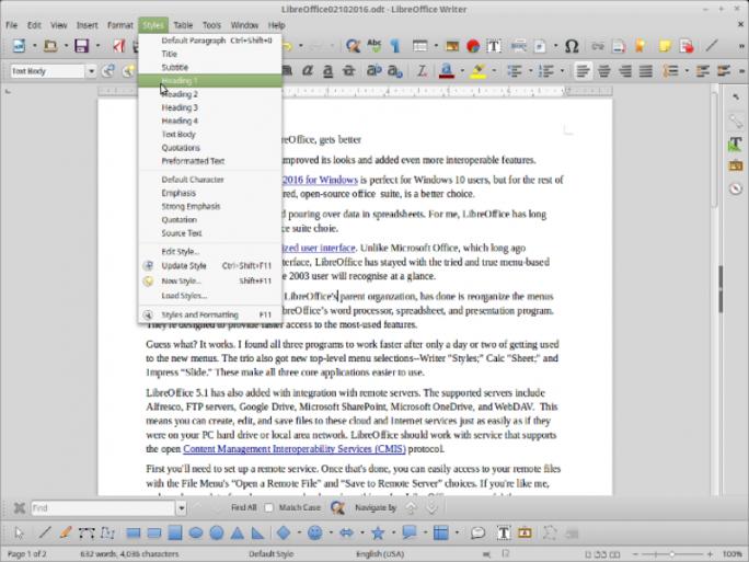 """Neue Menüeinträge wie hier """"Formatvorlagen"""" (Styles) in Writer sollen den Zugriff auf häufig genutzte Funktionen beschleunigen (Screenshot: Steven J. Vaughan-Nichols/ZDNet.com)."""