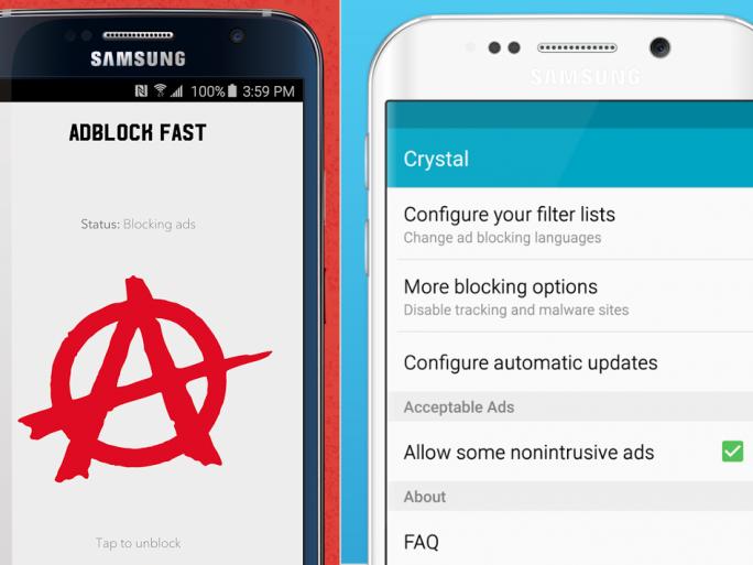 """Adblock Fast und Crystal liegen bereits als Erweiterungen für den Android-Browser """"Samsung Internet 4.0"""" vor (Bild: Adblock Fast/Crystal)."""