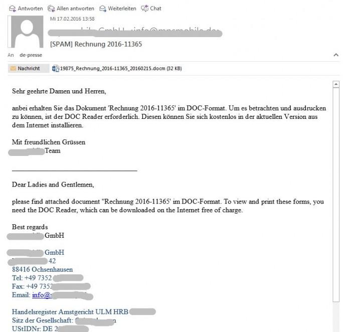 Locky verbreitet sich auch über über Mails mit vermeintlichen Rechnungen im Anhang. Dazu werden Adressdaten von Firmen missbraucht, die mit den Angriffen aber in keinerlei Verbindung stehen (Screenshot: ITespresso),