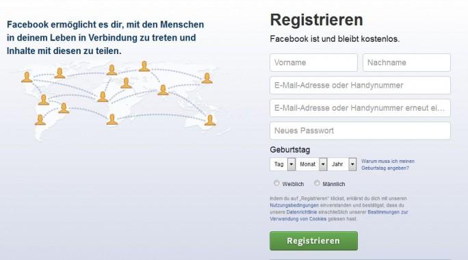 Facebook darf in Deutschlan bei der Registrierung auch künftig den echten Vor- und Nachnamen abfragen und dabei auf korrekte Angaben bestehen (Screenshot: ITespresso).