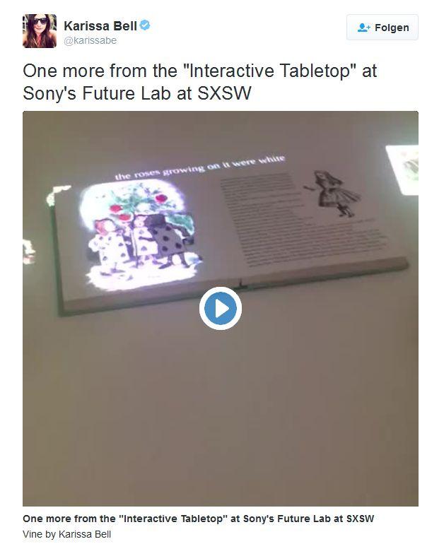"""Mashable-Auorin Karissa Bell hat bei Twitter ein kurzes Video des """"Interactive Tabletop"""" von Sony veröffentlicht (Screenshot: ITespresso)."""
