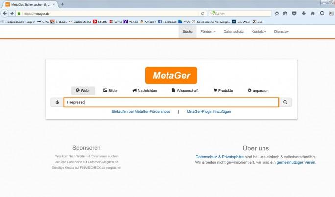 Auch die deutsche Suchmaschine Metager sammelt keine User-Daten und ist daher eine Alternative zu Google. (Screenshot: Mehmet Toprak)