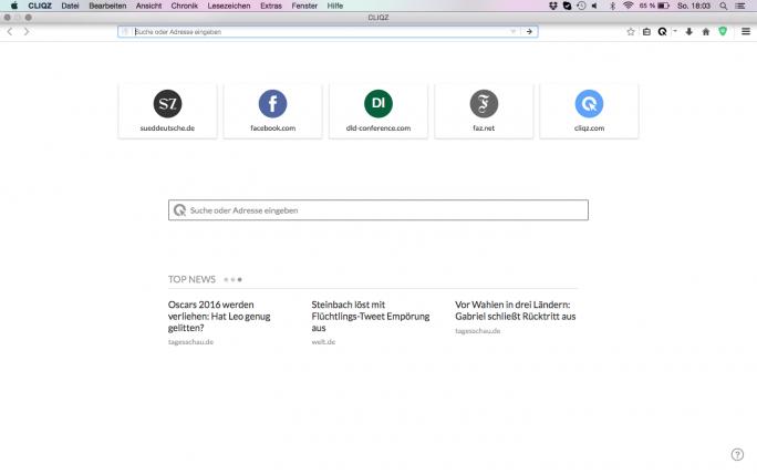 Die Startseite des Cliqz-Browsers. (Screenshot: Cliqz)