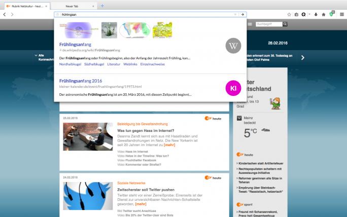Die integrierte Suchmaschine in Cliqz bietet dem Anwender Vorschläge aus dem Web-Index. Die dafür nötigen User-Daten werden aber laut Anbieter vollkommen anonym generiert (Screenshot: Cliqz).