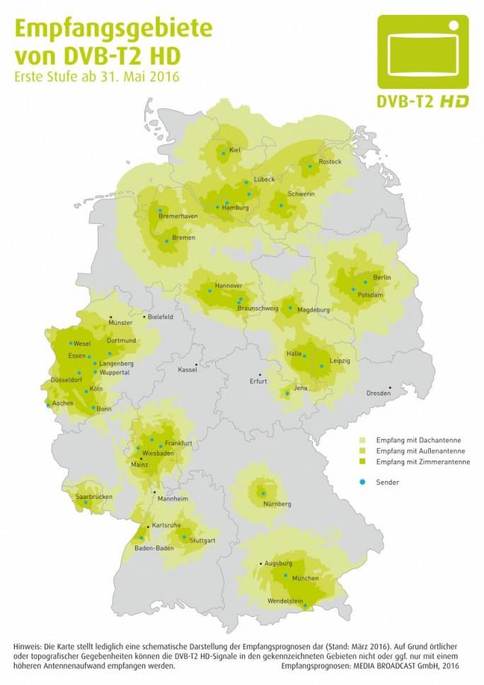 Empfangsgebiete von DVB-T2 HD ab 31. Mai 2016 (Bild: Projektbüro DVB-T2 HD Deutschland)