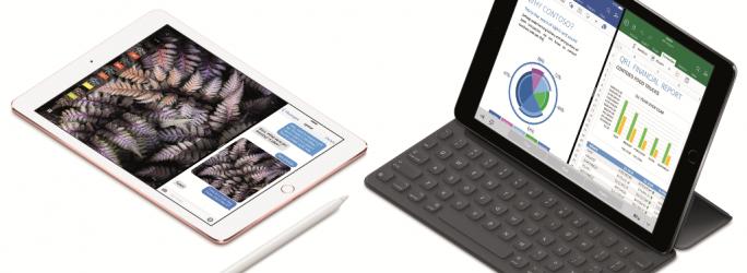 Das iPad Pro mit 9,7-Zoll-Display lässt sich auch mit Apple Pencil und Smart Keyboard verwenden (Bild: Apple).