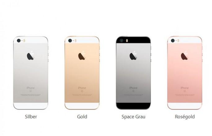 Das iPhone SE wird in vier Gehäusefarben auf den Markt kommen (Screenshot: ITespresso).