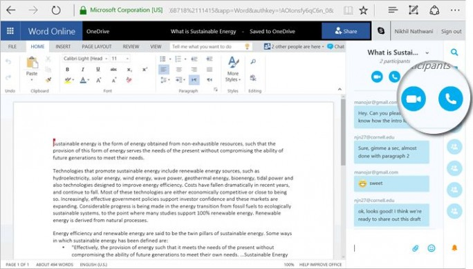 Das Instant -Messaging-Fenster wird dann direkt neben dem Dokument angezeigt. Dort finden sich dann auch Schaltflächen, um in eine Gruppenkonferenz zu wechseln, sei es nun per Audio- oder Video-Chat (Screenshot: Microsoft).