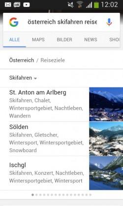 Reiseziele auf Google auf Smartphone (Screenshot: ITespresso)