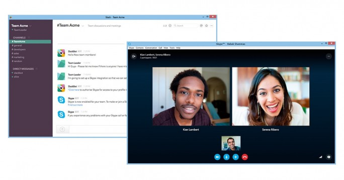 Skype-Integration mit Slack (Bild: Microsoft)