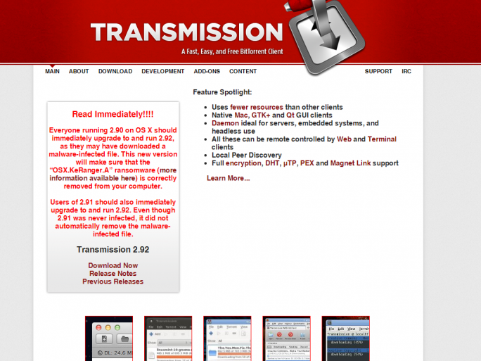 transmission-keranger (Screenshot: ZDNet.de)