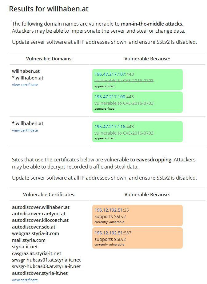Neben zahlreichen häufig genutzten Websites haben auch zahlreiche Cloud-Dienste die DROWN-Lücke bisher nur unzureichend beachtet. Von den auf der von den Entdeckern  der Lücke erstellten Liste aufgeführten Sites aus dem deutschsprachigem Raum gehörte am 10. März auch das Kleinanzeigenportal willhaben.at dazu (Screenshot: ITespresso).