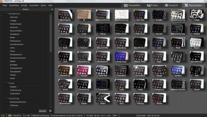 Beim Verschönern der Bilder zeigt sich ACDSee 19 als ausgewachsene Bildbearbeitung, die beispielsweise eine Vielzahl von Effektfiltern zur Verfügung stellt. (Screenshot: Mehmet Toprak)