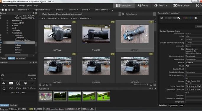 Bildverwaltungsprogramme wie ACDSee 19 suchen bei Bedarf nach den Fotos, die mit einer bestimmten Belichtungseinstellung gemacht wurden, etwa alle Fotos, die mit Spotmessung entstanden. (Screenshot: Mehmet Toprak)