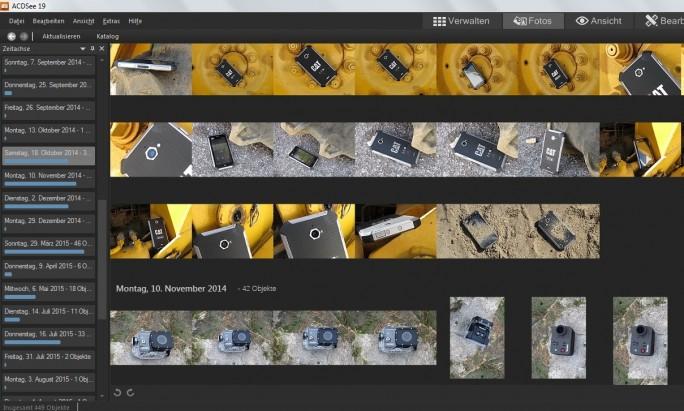 In dieser Ansicht erscheinen die Bilder in ACDSee 19 chronologisch geordnet. (Screenshot: Mehmet Toprak)