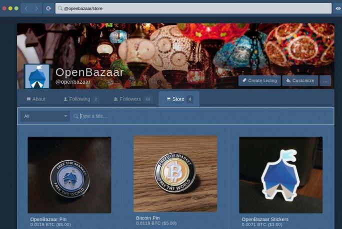 Musterangebote bei OpenBazaar (Screenshot: OB1)