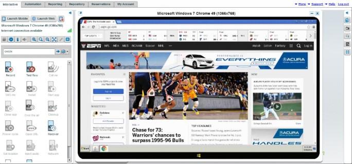 Screenshot- Single Browser (Screenshot: Perfecto Mobile)