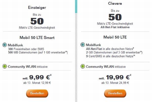 Tele Columbus bietet neben dem bestehenden Tarif Mobil 50 LTE ab sofort auch den Einsteigertarif Mobil 50 LTE Smart an (Screenshot: ITespresso).