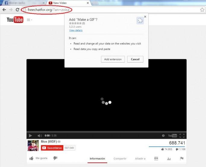 Die Links zu angeblich privaten Videos sollen Nutzer dazu verleiten, eine gefährliche Erweiterung für Chrome zu installieren (Bild: Eset).