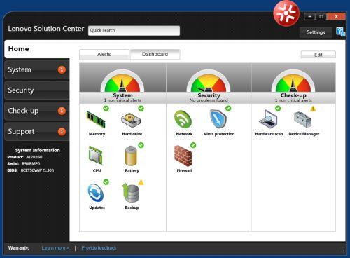 Das Lenovo Solution Center bietet eine Verwaltung für Hardware, Sicherheit und Verbindungen. Mit Version 3.3.003 behebt der Hersteller weitere Lecks. (Bild: Lenovo)