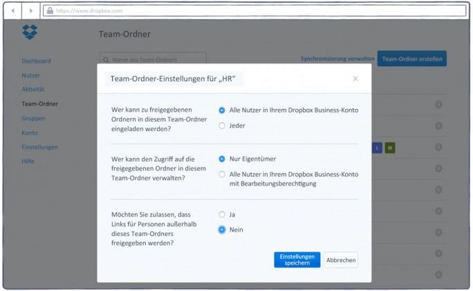 Das Berechtigungsmanagement für die neuen Team-Ordner bei Dropbox (Screenshot: Dropbox)