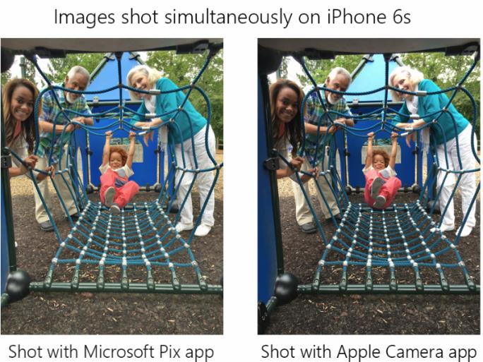 Im direkten Vergleich mit der Kamera-App von Apple verspricht Microsoft Pix bessere Fotos (Bild: Microsoft).