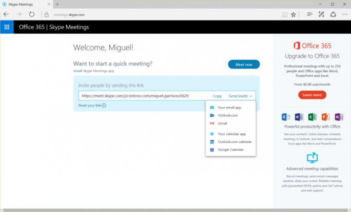Mit der Gratisversion von Skype Meetings lassen sich im Browser Konferenzen mit bis zu drei Teilnehmern einrichten (Bild: Microsoft).