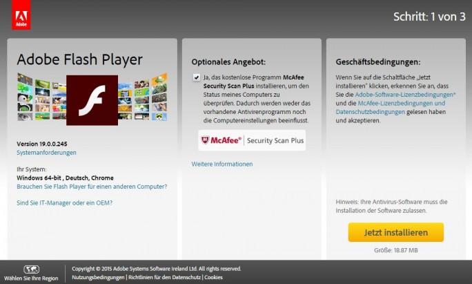 Eine vergleichsweise harmlose Form des Pay-per-install praktiziert Adobe bei seinem Flash Player, wo seit geraumer Zeit diverse Intel-Software mitgeliefert wird, wenn Nutzer vor dem Download das Häkchen nicht entfernen. (Screenshot: silicon.de)