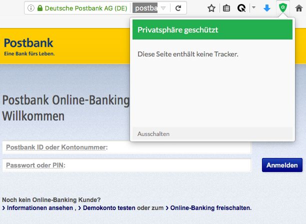 Dass es beim Online-Banking auch ohne Tracking-Technologien geht, beweist etwa die Postbank (Screenshot: Cliqz)