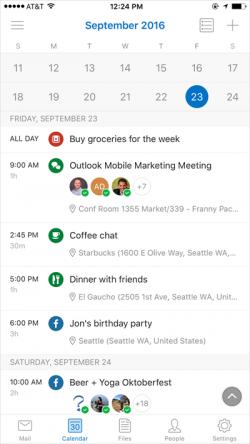Erkennt Outlook etwa das Wort Dinner als Begriff in einem Termin, passt die App das Icon für den Termin entsprechend an. Das soll dem Anwender zusätzliche Orientierungshilfe geben. (Bild: Microsoft