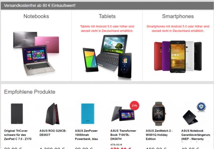 Asus hat aufgrund eines Patentstreits mit Philips vorübergehend den Verkauf von Android-Smartphones und -Tablets in Deutschland eingestellt (Screenshot: ZDNet.de).