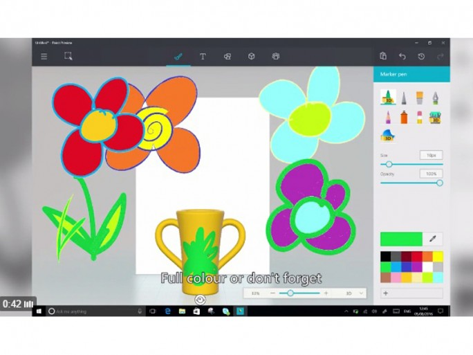 Malen auf 3D-Oberfläche in Paint Preview (Screenshot: ZDNet.de)